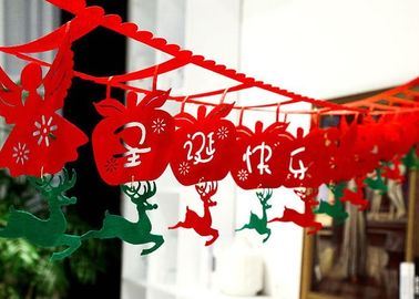 Custom Logo Felt Christmas Decorations Diy Hanging Flag Length 2m