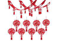Chinese Red Fu Thick 3D 10ft Felt Lanterns With Happy New Year Banner
