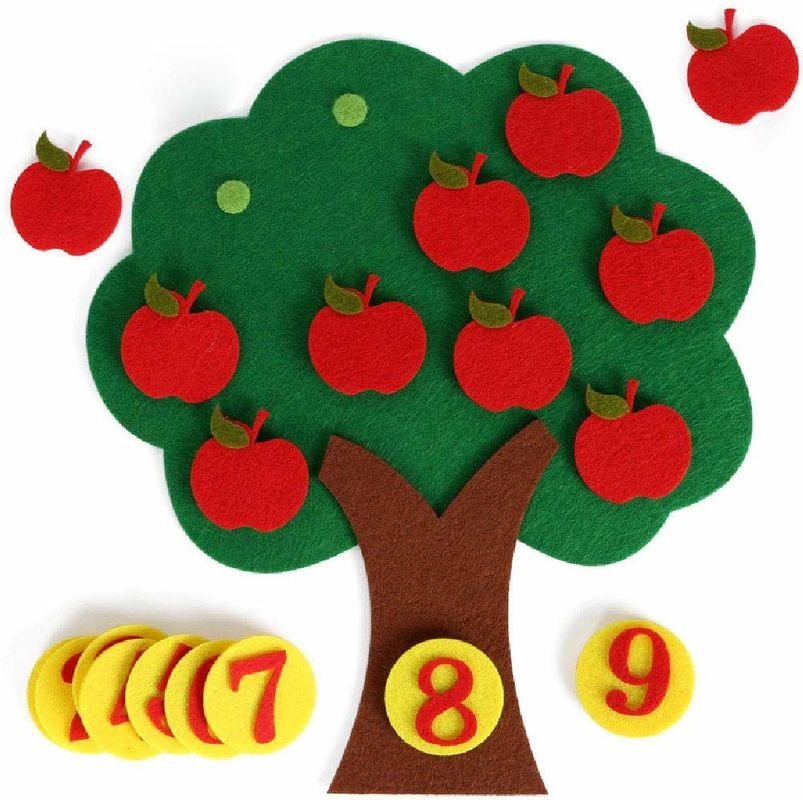 Non Toxic Kids Learning Toys Felt Apple Trees With Cute And Colorful Design