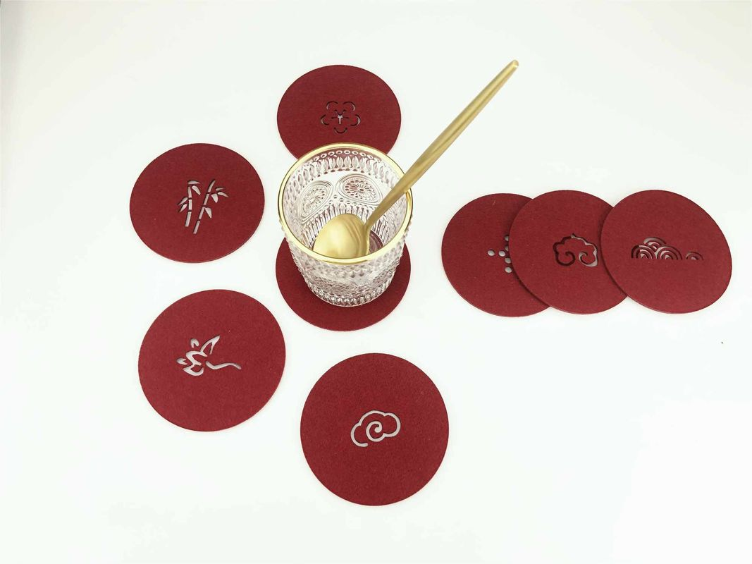 Chinese Element Wine Red Felt Coasters For Housewarming Accept Custom Size