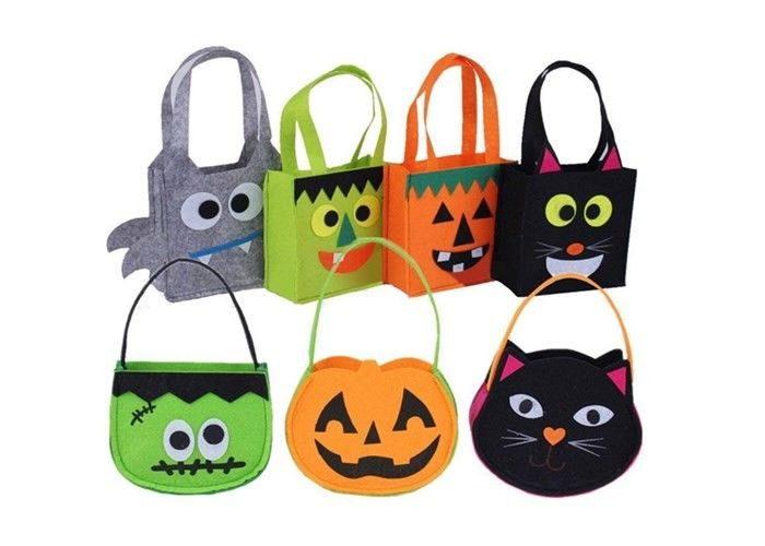 Non - Woven Felt Fabric Bags Trick Or Treat For Halloween Decorations