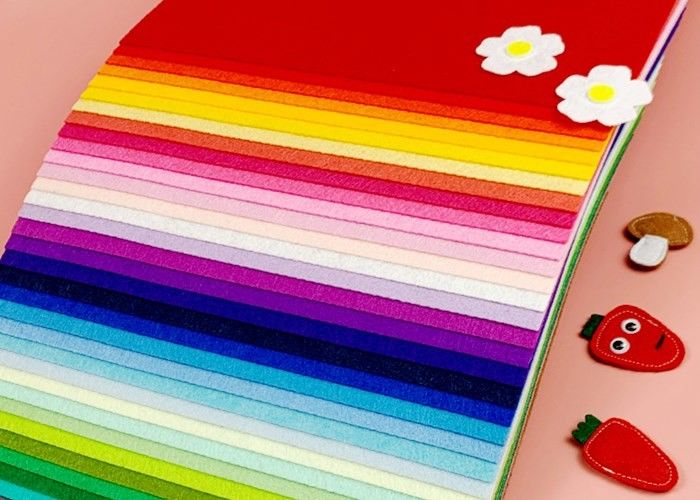 Multicolor 15x15cm Felt Fabric Crafts Sheets For DIY Craft Free Scissors